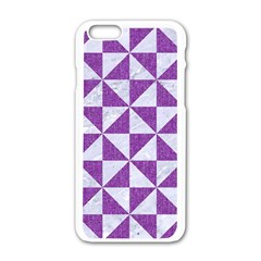 Triangle1 White Marble & Purple Denim Apple Iphone 6/6s White Enamel Case by trendistuff