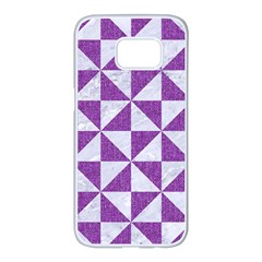 Triangle1 White Marble & Purple Denim Samsung Galaxy S7 Edge White Seamless Case by trendistuff