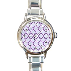 Tile1 White Marble & Purple Denim (r) Round Italian Charm Watch