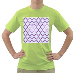 Tile1 White Marble & Purple Denim (r) Green T Shirt