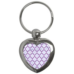 Tile1 White Marble & Purple Denim (r) Key Chains (heart)
