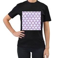 Tile1 White Marble & Purple Denim (r) Women s T Shirt (black) (two Sided)