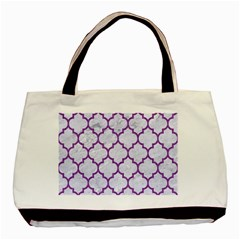 Tile1 White Marble & Purple Denim (r) Basic Tote Bag (two Sides)