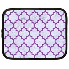 Tile1 White Marble & Purple Denim (r) Netbook Case (large)