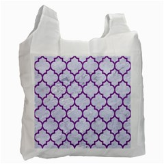 Tile1 White Marble & Purple Denim (r) Recycle Bag (one Side)