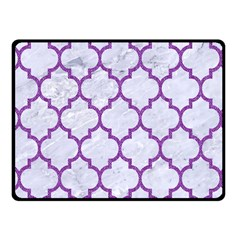 Tile1 White Marble & Purple Denim (r) Fleece Blanket (small)