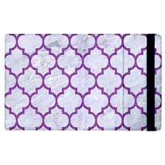 Tile1 White Marble & Purple Denim (r) Apple Ipad 2 Flip Case