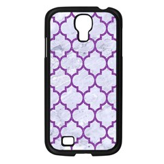 Tile1 White Marble & Purple Denim (r) Samsung Galaxy S4 I9500/ I9505 Case (black)