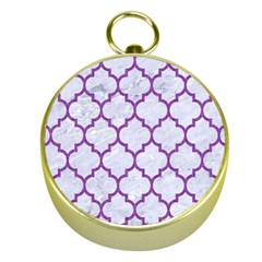 Tile1 White Marble & Purple Denim (r) Gold Compasses by trendistuff