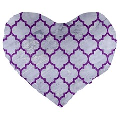 Tile1 White Marble & Purple Denim (r) Large 19  Premium Flano Heart Shape Cushions