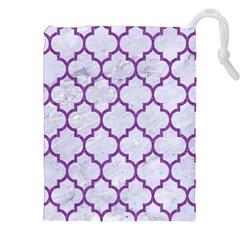 Tile1 White Marble & Purple Denim (r) Drawstring Pouches (xxl)