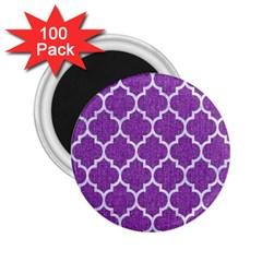 Tile1 White Marble & Purple Denim 2 25  Magnets (100 Pack)