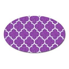 Tile1 White Marble & Purple Denim Oval Magnet