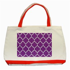 Tile1 White Marble & Purple Denim Classic Tote Bag (red)