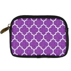 Tile1 White Marble & Purple Denim Digital Camera Cases