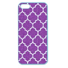 Tile1 White Marble & Purple Denim Apple Seamless Iphone 5 Case (color)