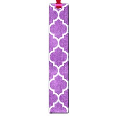 Tile1 White Marble & Purple Denim Large Book Marks