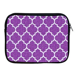 Tile1 White Marble & Purple Denim Apple Ipad 2/3/4 Zipper Cases
