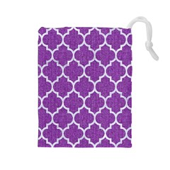 Tile1 White Marble & Purple Denim Drawstring Pouches (large)