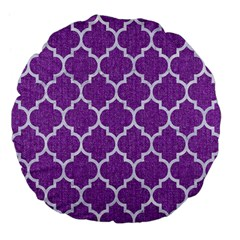 Tile1 White Marble & Purple Denim Large 18  Premium Flano Round Cushions by trendistuff