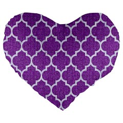 Tile1 White Marble & Purple Denim Large 19  Premium Flano Heart Shape Cushions