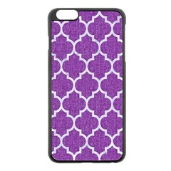 Tile1 White Marble & Purple Denim Apple Iphone 6 Plus/6s Plus Black Enamel Case