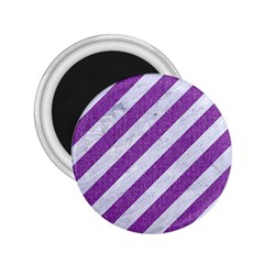 Stripes3 White Marble & Purple Denim (r) 2 25  Magnets