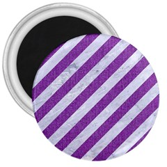Stripes3 White Marble & Purple Denim (r) 3  Magnets