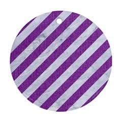 Stripes3 White Marble & Purple Denim (r) Ornament (round)