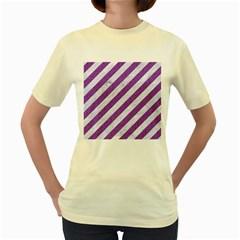 Stripes3 White Marble & Purple Denim (r) Women s Yellow T Shirt