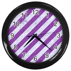 Stripes3 White Marble & Purple Denim (r) Wall Clocks (black)