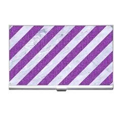 Stripes3 White Marble & Purple Denim (r) Business Card Holders by trendistuff