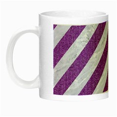 Stripes3 White Marble & Purple Denim (r) Night Luminous Mugs