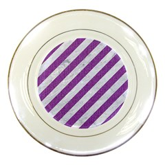 Stripes3 White Marble & Purple Denim (r) Porcelain Plates