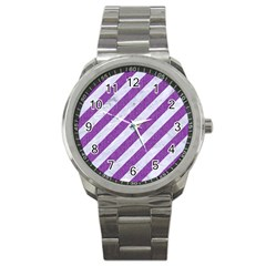Stripes3 White Marble & Purple Denim (r) Sport Metal Watch by trendistuff