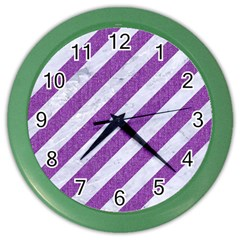 Stripes3 White Marble & Purple Denim (r) Color Wall Clocks