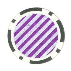 Stripes3 White Marble & Purple Denim (r) Poker Chip Card Guard