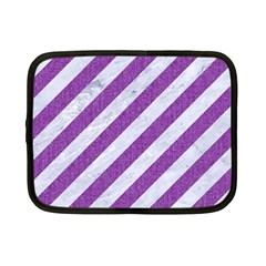 Stripes3 White Marble & Purple Denim (r) Netbook Case (small)