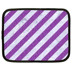 Stripes3 White Marble & Purple Denim (r) Netbook Case (large)