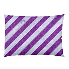 Stripes3 White Marble & Purple Denim (r) Pillow Case