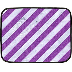 Stripes3 White Marble & Purple Denim (r) Fleece Blanket (mini)