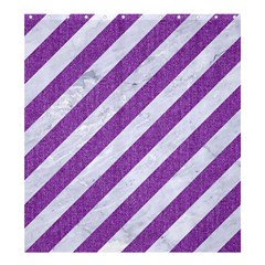 Stripes3 White Marble & Purple Denim (r) Shower Curtain 66  X 72  (large)