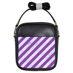 Stripes3 White Marble & Purple Denim (r) Girls Sling Bags