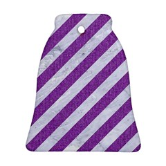 Stripes3 White Marble & Purple Denim (r) Bell Ornament (two Sides)