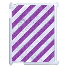 Stripes3 White Marble & Purple Denim (r) Apple Ipad 2 Case (white)