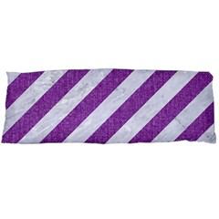 Stripes3 White Marble & Purple Denim (r) Body Pillow Case (dakimakura)