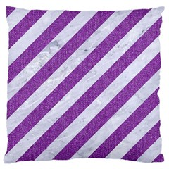 Stripes3 White Marble & Purple Denim (r) Large Cushion Case (one Side) by trendistuff