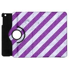 Stripes3 White Marble & Purple Denim (r) Apple Ipad Mini Flip 360 Case