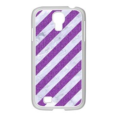 Stripes3 White Marble & Purple Denim (r) Samsung Galaxy S4 I9500/ I9505 Case (white)