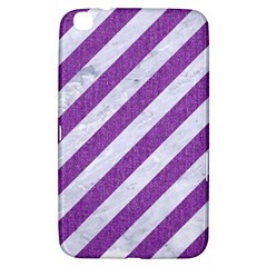 Stripes3 White Marble & Purple Denim (r) Samsung Galaxy Tab 3 (8 ) T3100 Hardshell Case